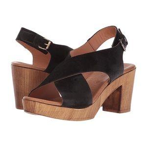 Eric Michael Black Leather Boston Sandals Size 36